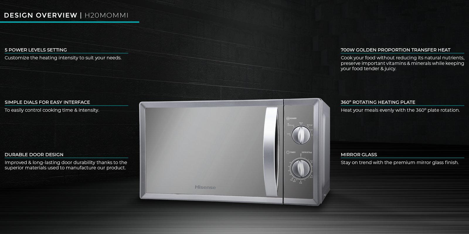 Hisense 20-litre Microwave H20MOMMI - 700 watts microwave power, Mirror Glass finish, 5 power levels setting, Durable door design