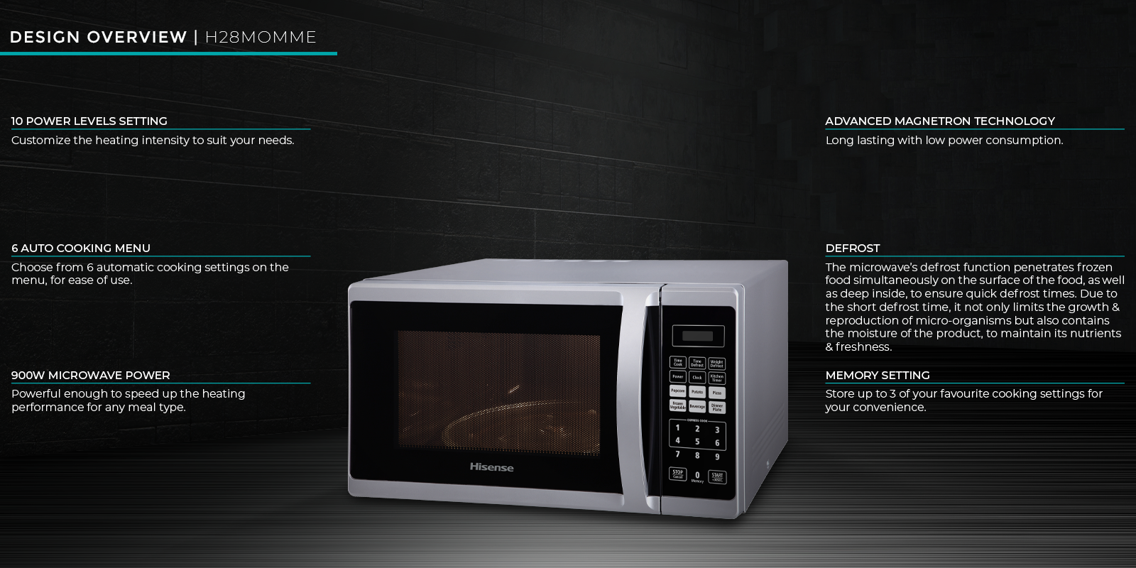 Hisense 28-liter Microwave H28MOMME; 900 watts, 6 auto menus, defrost, 10 power levels setting